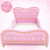 Kids Single PU Leather Studded Heart Bed Frame Pink