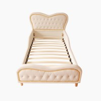 Kid's Single PU Leather Stud Heart Bed Frame White