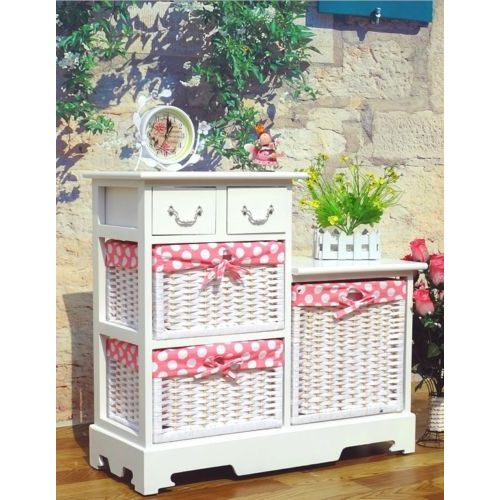 Woven Storage Baskets Melbourne : Wooden drawer unit w rattan baskets in white buy