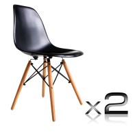 2x Replica DSW Eiffel Retro Dining Chairs in Black