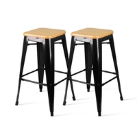 2x Replica Tolix Steel & Wood Bar Stool Black 66cm