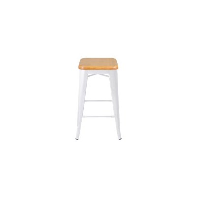 2x Replica Tolix Steel & Wood Bar Stool White 66cm