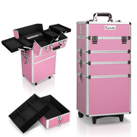 4-in-1 Pink Makeup Artist Organiser Case Trolley