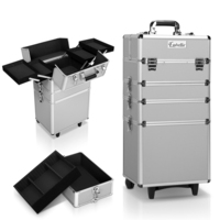 7-in-1 Portable Wheeled Cosmetic Makeup Case Silver