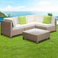 5pc Bali Outdoor Lounge Set in Brown Rattan Wicker