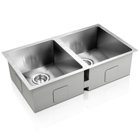 Double Stainless Steel Sink w/ Waste Strainer