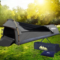 Biker Camping Swag with Air Pillow Single Grey
