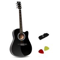 Black 6 Steel String 41in Acoustic Guitar w/ Strap