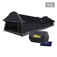 King Single Deluxe Canvas Swag Camping Tent in Grey