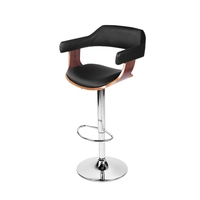 Sleek Natural Wood & PU Leather Gas Lift Bar Stool