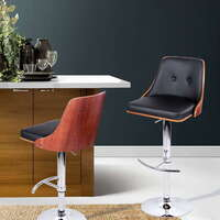 Cradle Buttoned PU Leather & Wood Bar Stool Black