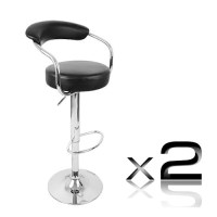 2x Minimalist Gas Lift PU Leather Bar Stool Black