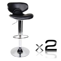 2x Contour PU Leather Gas Lift Bar Stools in Black