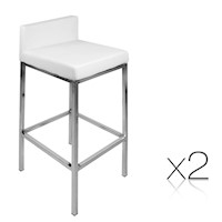 2x Cubic Chrome Leg PU Leather Bar Stool in White