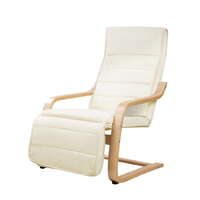 Birch Bentwood & Fabric Arm Chair w/ Footrest Beige