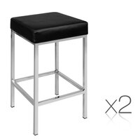 2x Flat Cubic PU Leather Chrome Bar Stool in Black