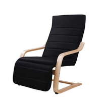 Birch Wood Cotton Ergonomic Lounge Arm Chair Black