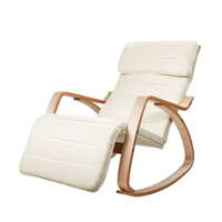 Birch Plywood Rocking Armchair in Beige