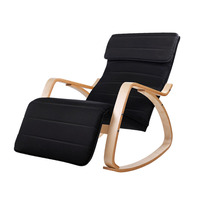 Birch Plywood Rocking Armchair in Black
