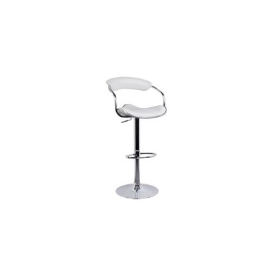 2x Minimalist PU Leather Gas Lift Bar Stool White