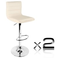 2x Stitched PU Leather Gas Lift Bar Stools in Beige