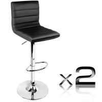 2x Stitched PU Leather Gas Lift Bar Stools in Black