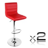 2x Stitched PU Leather Gas Lift Bar Stool in Red