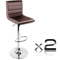 2x Stitched PU Leather Gas Lift Bar Stools in Brown