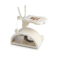 Cat Scratcher Post House w/ Sisal Roof & 4 Toys