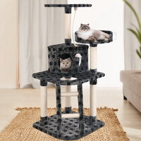 Cat Scratching Post Pole Paw Print Pattern 120cm