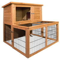 2 Storey Fir Wood Rabbit Hutch w Large Under Run