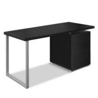 Wood & Metal Home Office Desk w 3 Drawers in Black
