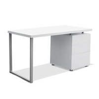 White Home Office Computer Desk w/ Drawer Storage