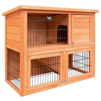 Double Storey Rabbit Hutch w/ Fully Opening Base