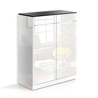 Black & White 6 Shelf 2 Drawer Shoe Storage Cabinet