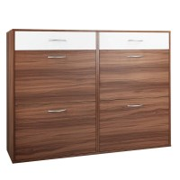 Large 6 Drawer Shoe Storage Cabinet Walnut & White