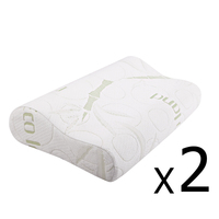 2 Fabric Cover Contour Memory Foam Pillow 50x30cm