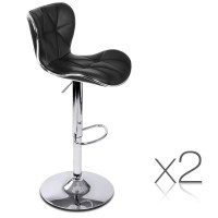 2x Grid Contour PU Leather Gas Lift Bar Stool Black