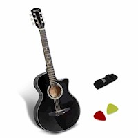 Wooden Acoustic Guitar w/ Bag & Strap in Black 38in