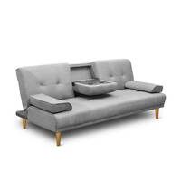 3 Seat Sofa Bed Lounge w/ 2 Cup Holders in Grey