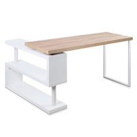 Wood Corner Rotating Office Desk & Bookshelf White