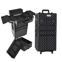 7 in 1 Portable Makeup Trolley Case Diamond Black