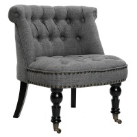 Lorraine Fabric Chesterfield Lounge Chair in Grey