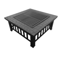 Outdoor Fire Pit & Table w/ Stone Pattern 81x81cm