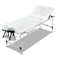 Portable Aluminium 3 Fold Massage Table White 60cm