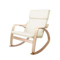 Ergonomic Bentwood & Fabric Rocking Chair in Beige