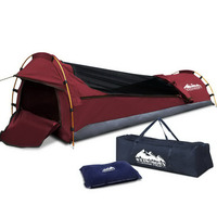 Single Camping Canvas Swag with Mattress in Red