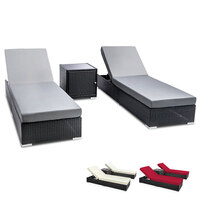 2x Flamenco Sun Lounge w Side Table in Black Wicker