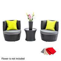 4pc Elba Stackable Outdoor Lounge in Black Wicker