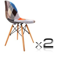 2x Eames Replica Eiffel DSW Fabric Dining Chair
